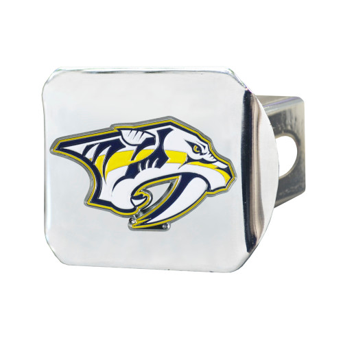 """4"""" Stainless Steel and Yellow NHL Nashville Predators Hitch Cover - IMAGE 1"""