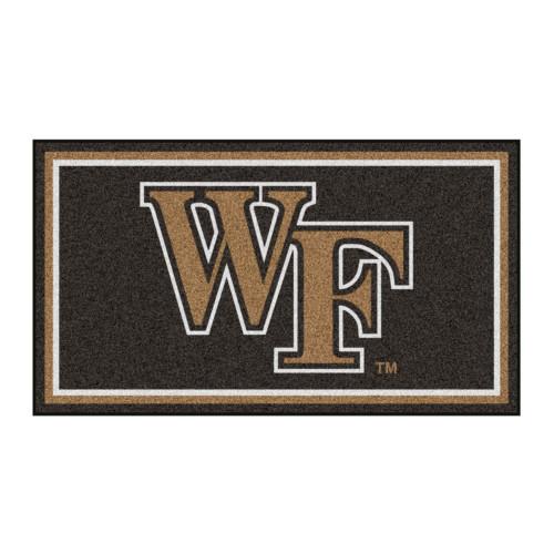 3' x 5' Black and Brown NCAA Wake Forest Demon Deacons Rectangular Plush Area Throw Rug - IMAGE 1
