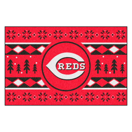 "Black and White MLB Cincinnati Reds Rectangular Sweater Starter Mat 30"" x 19"" - IMAGE 1"