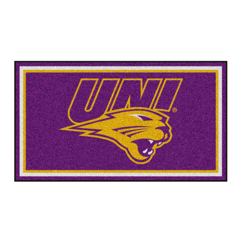 3' x 5' Purple and Yellow NCAA Northern Iowa Panthers Rectangular Plush Area Throw Rug - IMAGE 1