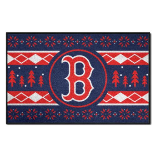 "Blue and White MLB Boston Red Sox Rectangular Sweater Starter Mat 30"" x 19"" - IMAGE 1"