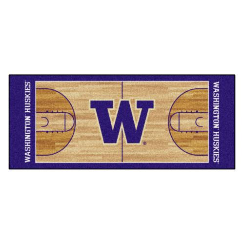 "30"" x 72"" Brown and Purple NCAA Washington Huskies Rectangular Area Throw Rug Runner - IMAGE 1"