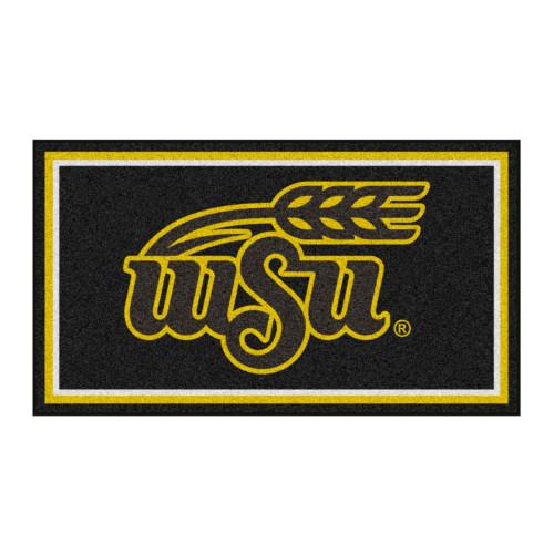 3' x 5' Black and Yellow NCAA Wichita State Shockers Rectangular Plush Area Throw Rug - IMAGE 1