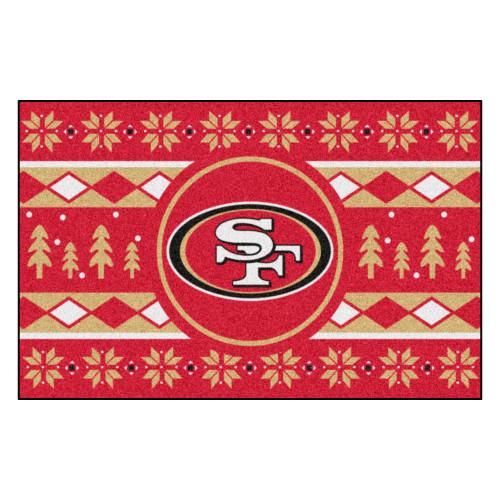 "Red and Beige NFL San Francisco 49ers Rectangular Sweater Starter Mat 30"" x 19"" - IMAGE 1"