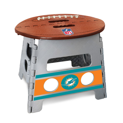 """14"""" Gray and Brown NFL Miami Dolphins Folding Step Stool - IMAGE 1"""