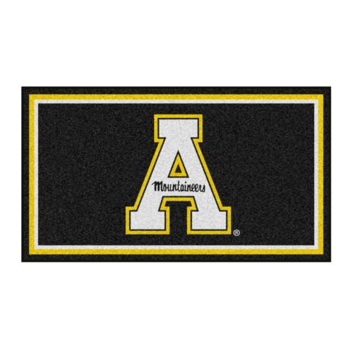 3' x 5' Black and Yellow NCAA Appalachian State Mountaineers Rectangular Plush Area Throw Rug - IMAGE 1