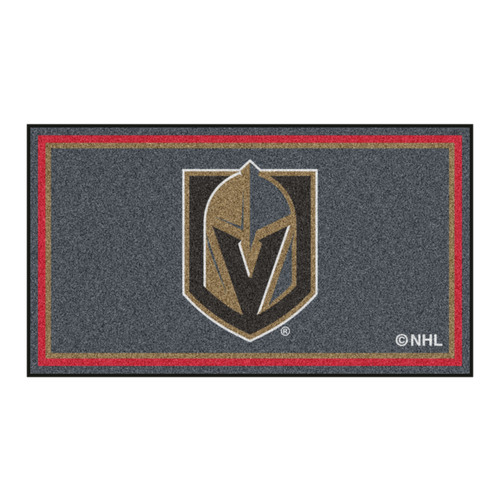 3' x 5' Gray and Brown NHL Vegas Golden Knights Rectangular Plush Area Throw Rug - IMAGE 1