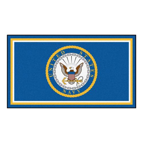 3' x 5' Blue and Yellow U.S. Navy Rectangular Plush Area Throw Rug - IMAGE 1