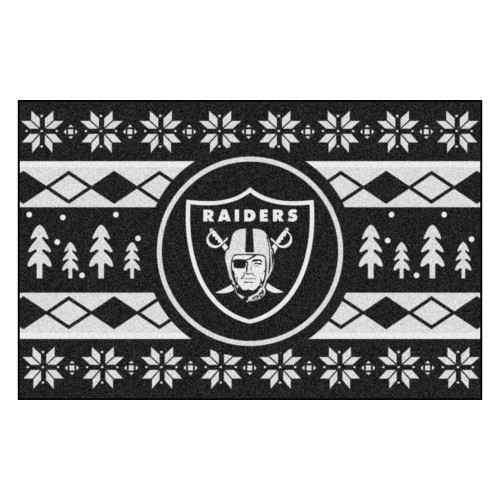 "Black and White NFL Oakland Raiders Rectangular Sweater Starter Mat 30"" x 19"" - IMAGE 1"