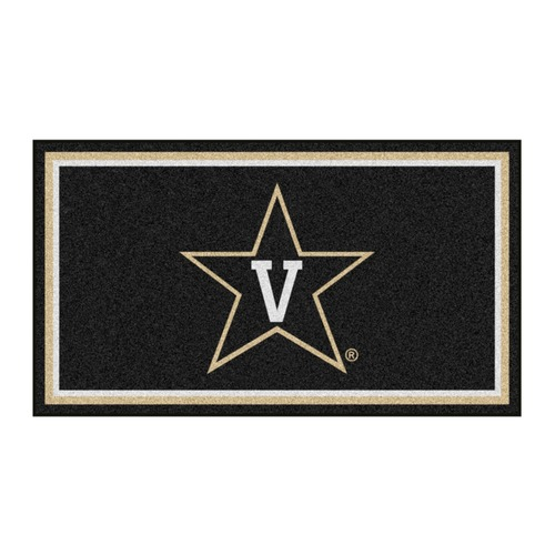 3' x 5' Black and White NCAA Vanderbilt Commodores Rectangular Plush Area Throw Rug - IMAGE 1