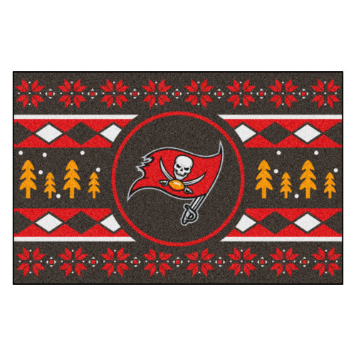 "Red and Black NFL Tampa Bay Buccaneers Rectangular Sweater Starter Mat 30"" x 19"" - IMAGE 1"