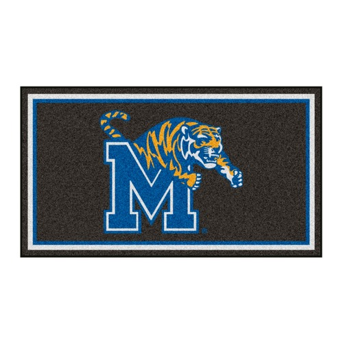3' x 5' Charcoal Black and Blue NCAA Memphis Tigers Rectangular Plush Area Throw Rug - IMAGE 1