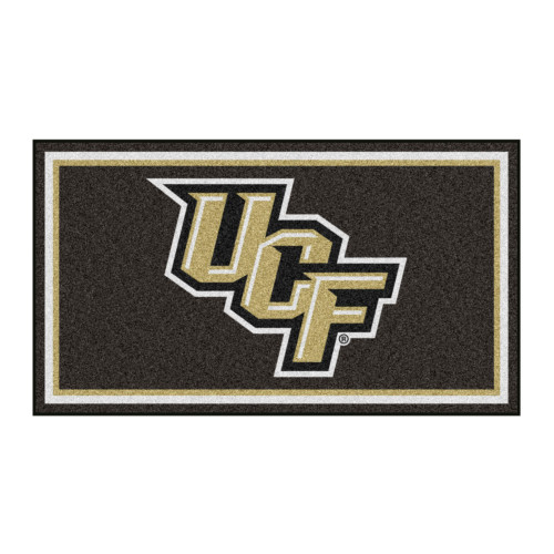 3' x 5' Brown and Beige NCAA Central Florida Knights Rectangular Plush Area Throw Rug - IMAGE 1