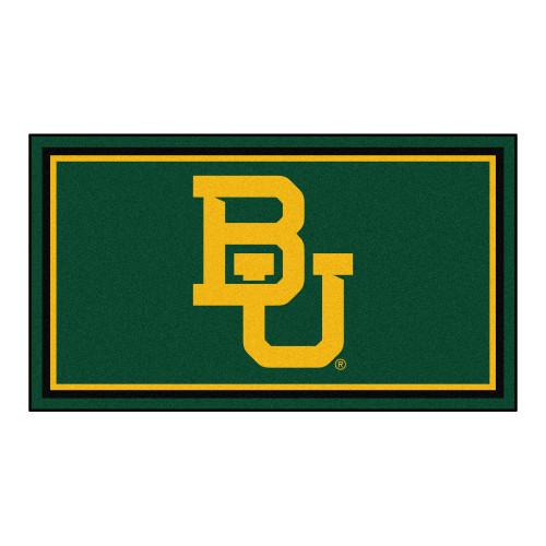 3' x 5' Green and Yellow NCAA Baylor Bears Rectangular Plush Area Throw Rug - IMAGE 1