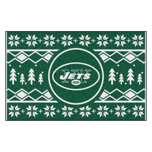 "Green and White NFL New York Jets Rectangular Sweater Starter Mat 30"" x 19"" - IMAGE 1"