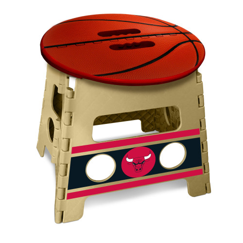 """14"""" Red and Beige NBA Chicago Bulls Folding Step Stool - IMAGE 1"""