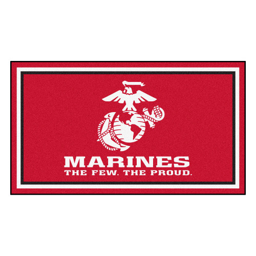 3' x 5' Red and White United States Marines Plush Area Throw Rug - IMAGE 1