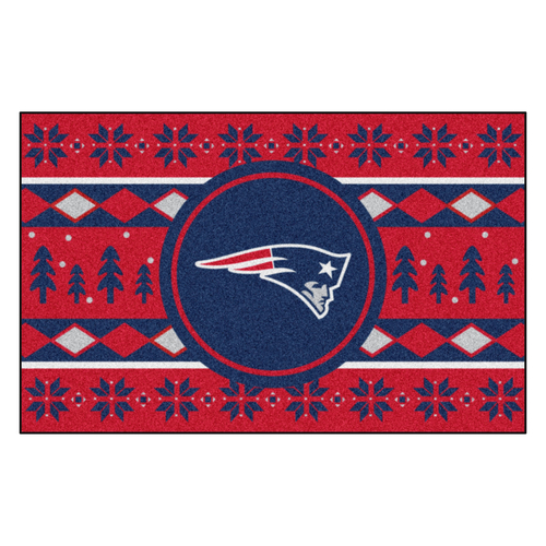"""Red and Navy Blue NFL New England Patriots Rectangular Sweater Starter Mat 30"""" x 19"""" - IMAGE 1"""