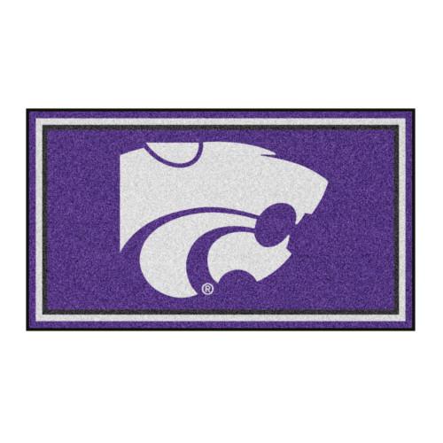 3' x 5' Purple and White NCAA Kansas State Wildcats Rectangular Plush Area Throw Rug - IMAGE 1