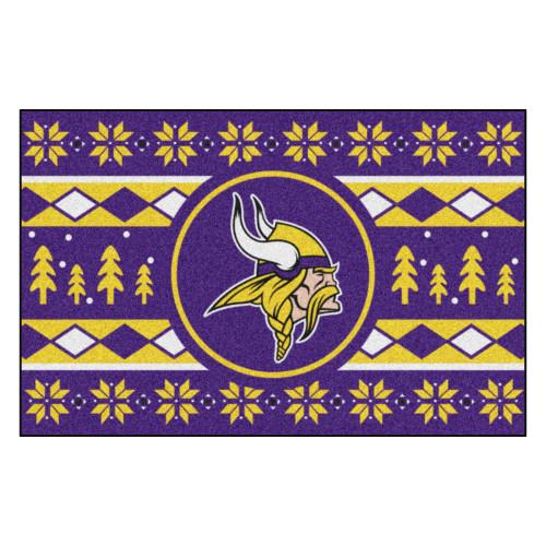 "Purple and Yellow NFL Minnesota Vikings Rectangular Sweater Starter Mat 30"" x 19"" - IMAGE 1"
