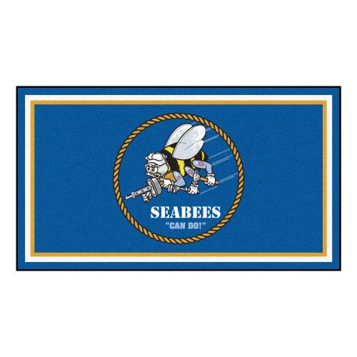 3' x 5' Blue and White US Navy Seabees Rectangular Plush Area Throw Rug - IMAGE 1