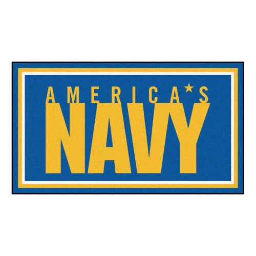 3' x 5' Blue and Yellow U.S Navy Rectangular Plush Area Throw Rug - IMAGE 1