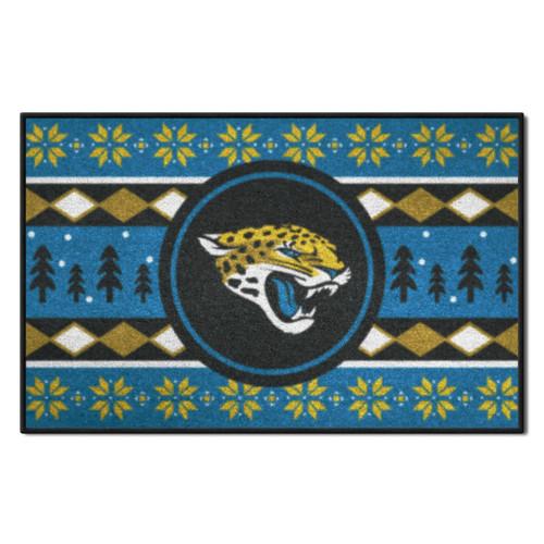 "Aqua Blue and Black NFL Jacksonville Jaguars Rectangular Sweater Starter Mat 30"" x 19"" - IMAGE 1"
