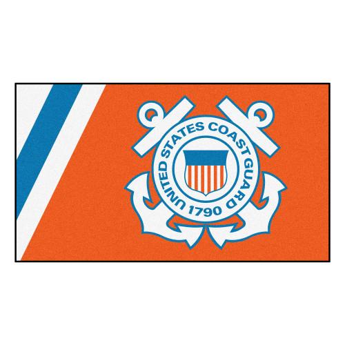 3' x 5' Orange and White United States Coast Guard Plush Area Throw Rug - IMAGE 1