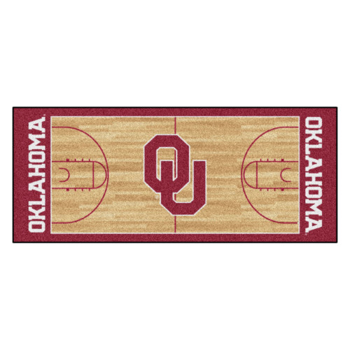 "30"" x 72"" Brown and Red NCAA Oklahoma Sooners Rectangular Area Throw Rug Runner - IMAGE 1"