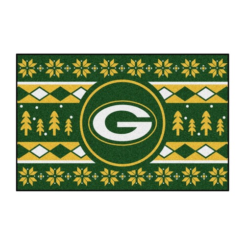 "White NFL Green Bay Packers Rectangular Sweater Starter Mat 30"" x 19"" - IMAGE 1"