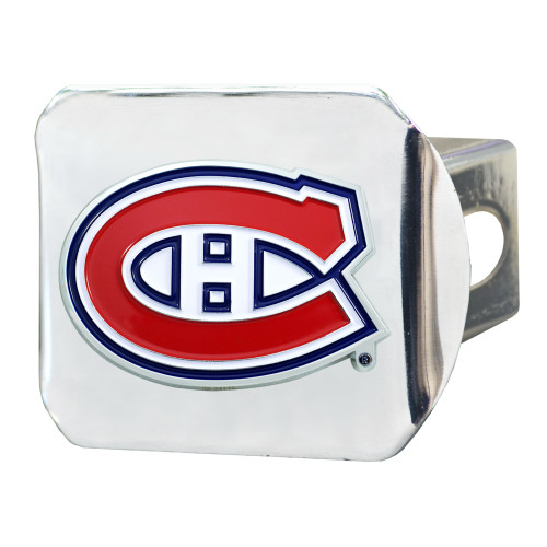 """4"""" Stainless Steel and Red NHL Montreal Canadiens Hitch Cover - IMAGE 1"""