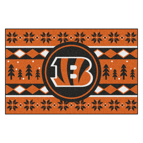"Orange and Black NFL Cincinnati Bengals Rectangular Sweater Starter Mat 30"" x 19"" - IMAGE 1"