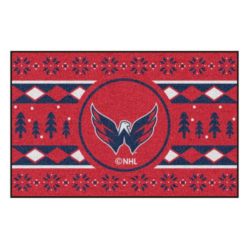 "Red and Blue NHL Washington Capitals Rectangular Sweater Starter Mat 30"" x 19"" - IMAGE 1"