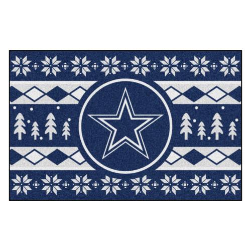 "Blue and White NFL Dallas Cowboys Rectangular Sweater Starter Mat 30"" x 19"" - IMAGE 1"
