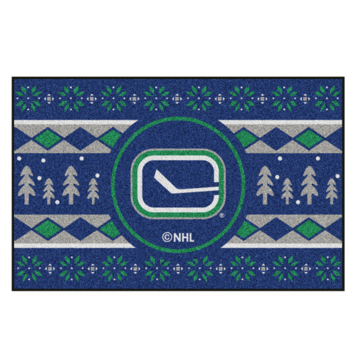 "Blue and Green NHL Vancouver Canucks Rectangular Sweater Starter Mat 30"" x 19"" - IMAGE 1"