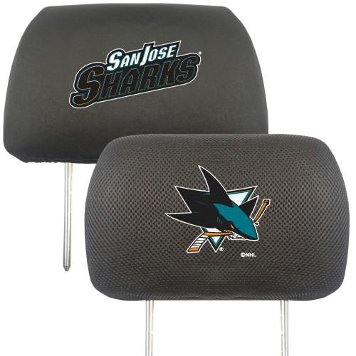 """13"""" Black and Teal Blue NHL San Jose Sharks Headrest Cover - IMAGE 1"""