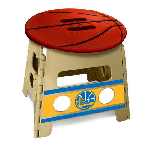 """14"""" Red and Beige NBA Golden State Warriors Folding Step Stool - IMAGE 1"""