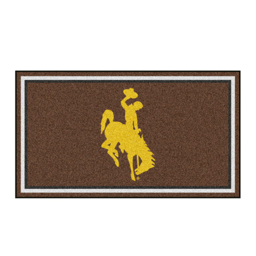 3' x 5' Brown and Yellow NCAA Wyoming Cowboys Rectangular Plush Area Throw Rug - IMAGE 1