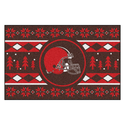 """Red and Black NFL Cleveland Browns Rectangular Sweater Starter Mat 30"""" x 19"""" - IMAGE 1"""