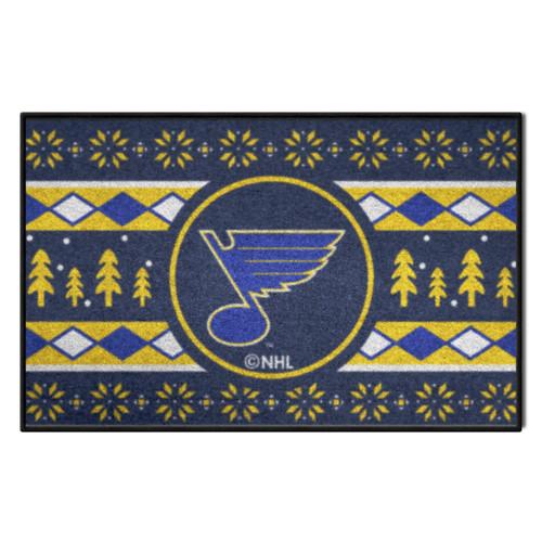 "White and Yellow NHL Saint Louis Blues Rectangular Sweater Starter Mat 30"" x 19"" - IMAGE 1"