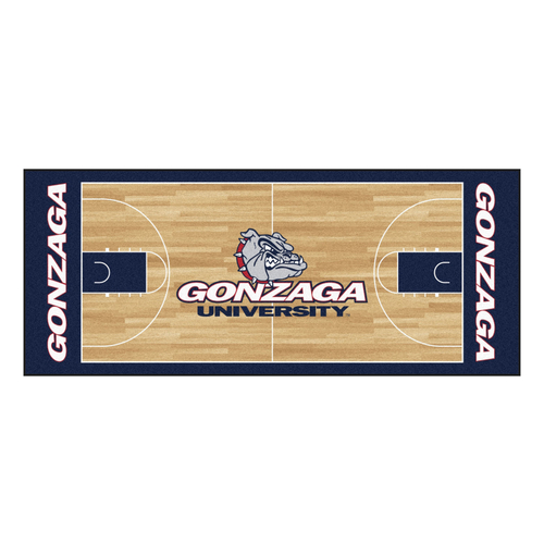 "30"" x 72"" Brown and Blue NCAA Gonzaga Bulldogs Rectangular Area Throw Rug Runner - IMAGE 1"