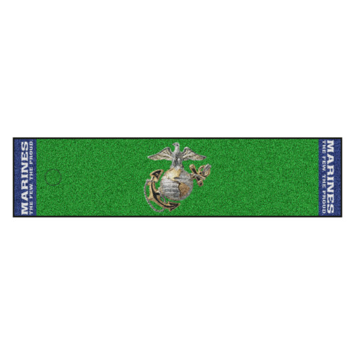 """Green and Blue NCAA US Marine Putting Mat Golf Accessory 72"""" x 18"""" - IMAGE 1"""