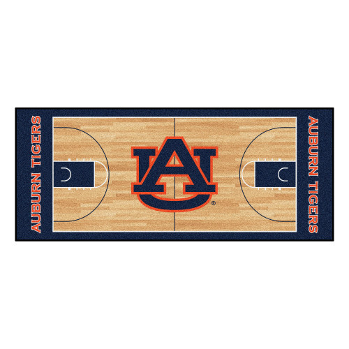 "30"" x 72"" Brown and Black NCAA Auburn Tigers Rectangular Area Throw Rug Runner - IMAGE 1"
