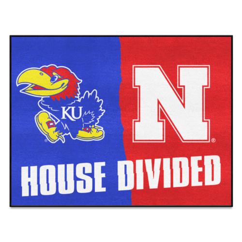 "Blue and Red Kansas/Nebraska Rectangular House Divided Mat 42.5"" x 33.75"" - IMAGE 1"