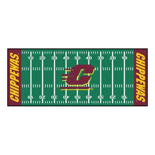 "30"" x 72"" Green and Maroon NCAA Central Michigan Chippewas Football Field Rectangular Area Throw Rug Runner - IMAGE 1"