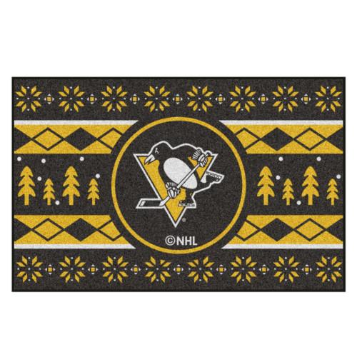 "Black and Yellow NHL Pittsburgh Penguins Rectangular Sweater Starter Mat 30"" x 19"" - IMAGE 1"