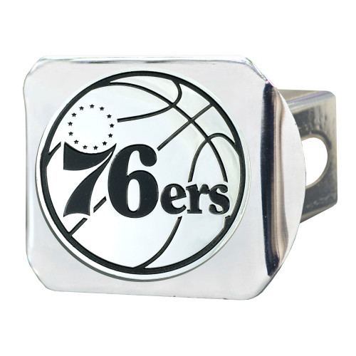 "4"" Stainless Steel and Black NBA Philadelphia 76ers Hitch Cover - IMAGE 1"