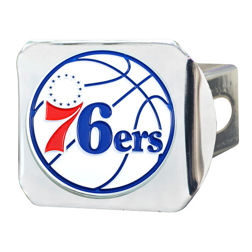 "4"" Stainless Steel and Blue NBA Philadelphia 76ers Hitch Cover - IMAGE 1"