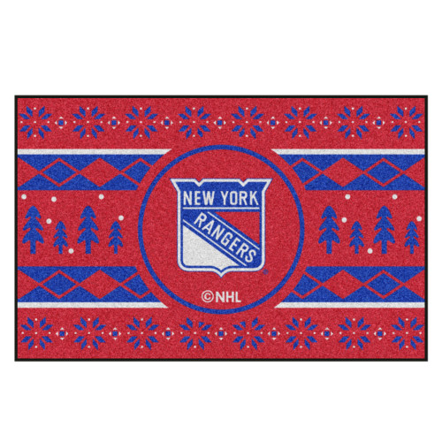 "Red and Blue NHL New York Rangers Rectangular Sweater Starter Mat 30"" x 19"" - IMAGE 1"