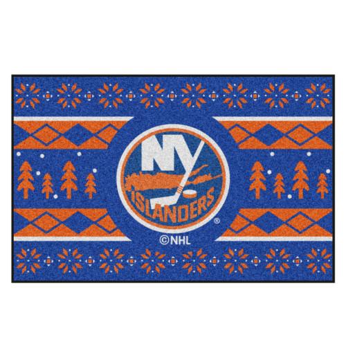 "Blue and Orange NHL New York Islanders Rectangular Sweater Starter Mat 30"" x 19"" - IMAGE 1"